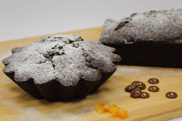 Bizcocho de chocolate gianduja y naranja confitada